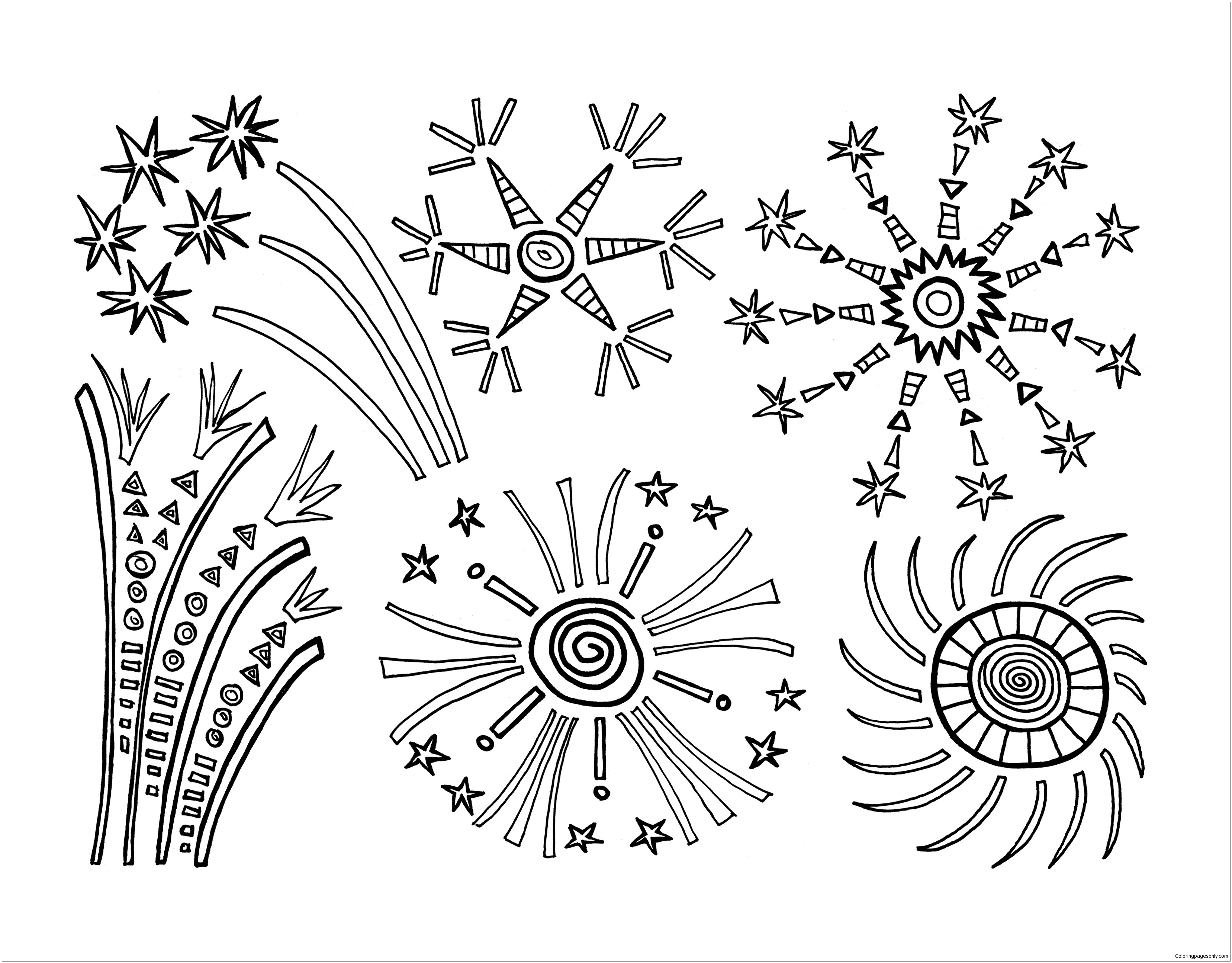 Fireworks For New Year Coloring Page