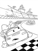 McQueen is about to cross the finish line from Disney Cars Coloring Page