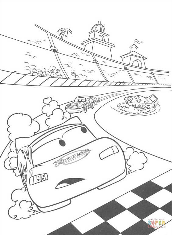 McQueen is about to cross the finish line from Disney Cars Coloring Pages