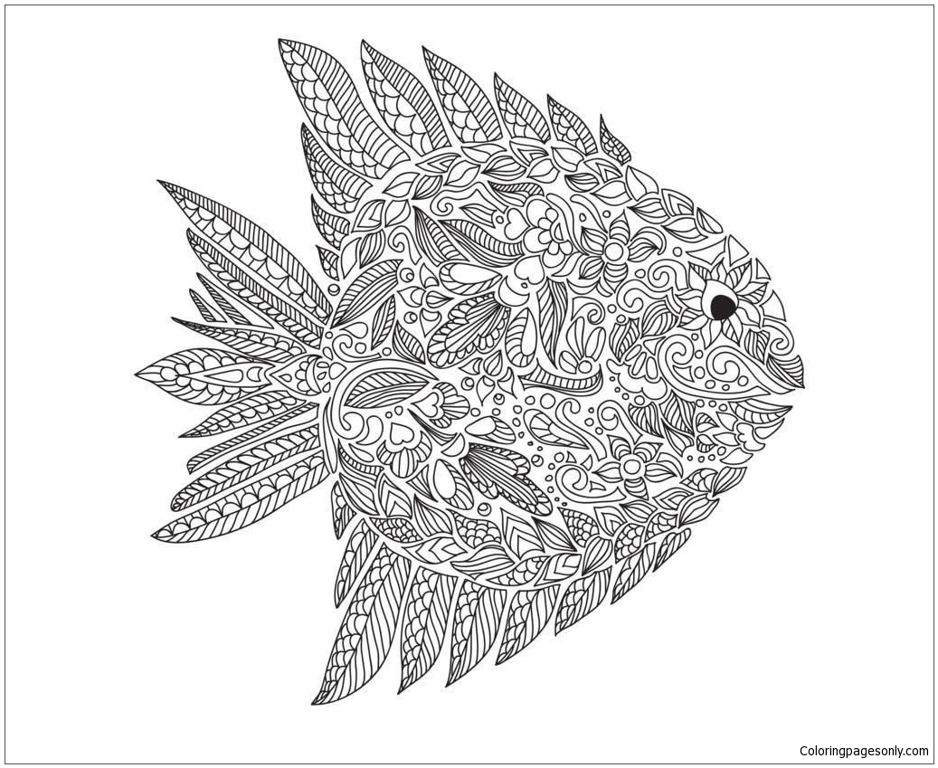 Fish Zentangle Coloring Page