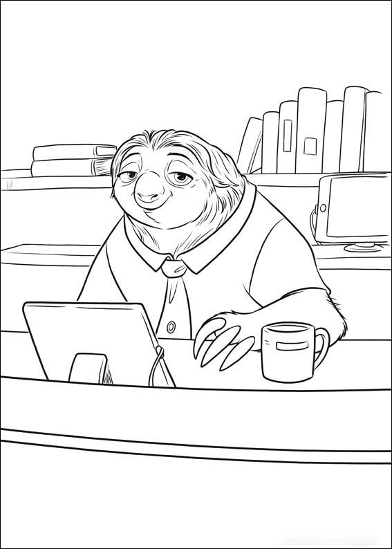 Flash Slothmore is at the office Coloring Page