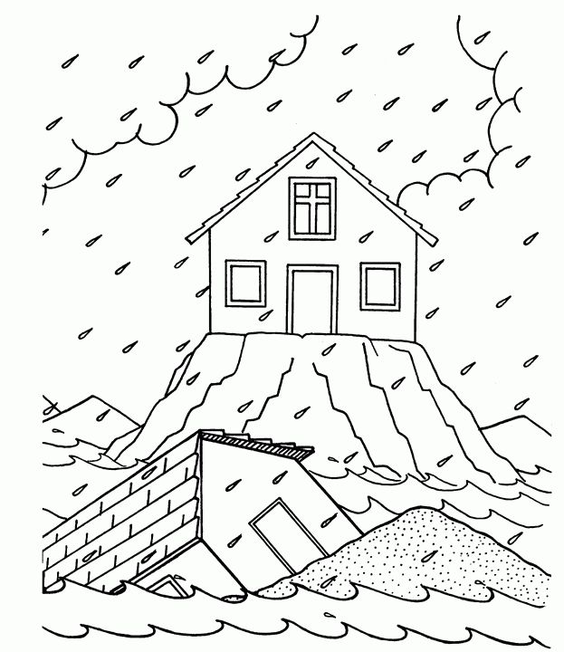 Floods swept away homes Coloring Page