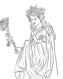 Flora by Rembrandt Coloring Page