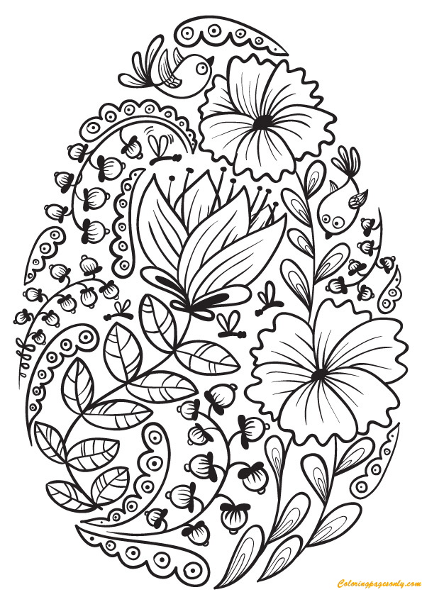 Floral Easter Egg Decorations Coloring Page Free