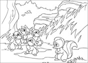 Flower And Rabbits  from Bambi Coloring Page