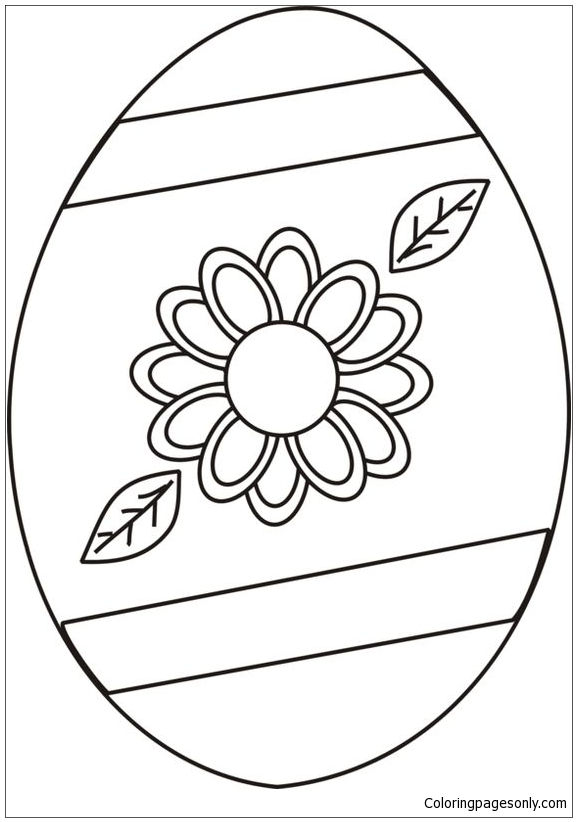 Flower Easter Egg Coloring Page