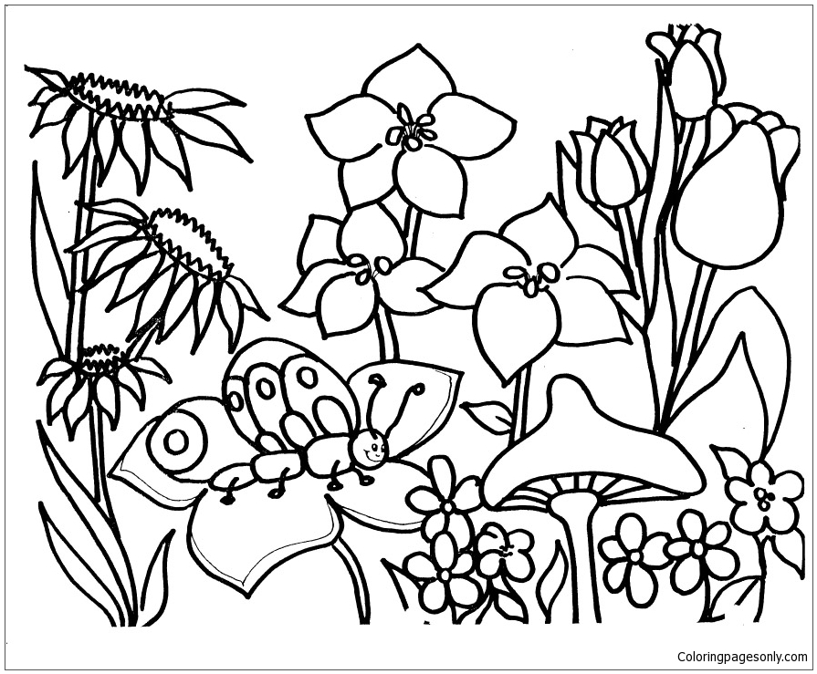 Flower garden 1 coloring page