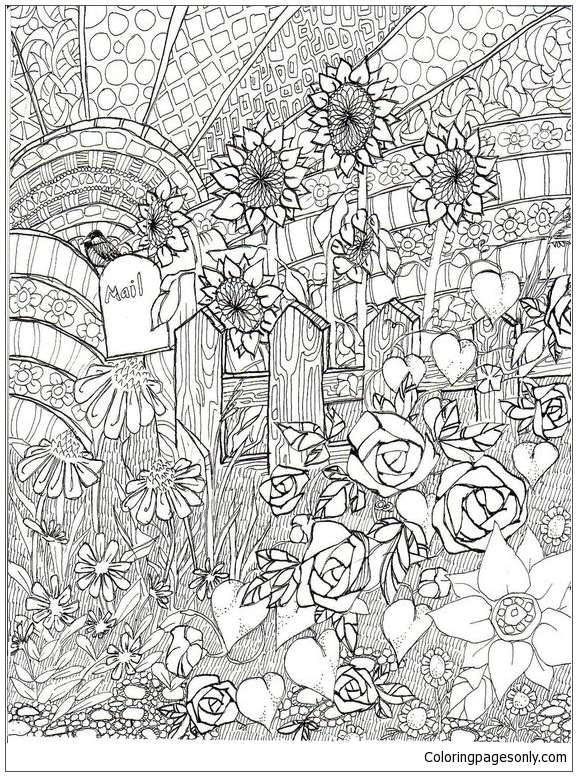 Flower Garden Front Of The Home Coloring Pages - Nature & Seasons Coloring  Pages - Free Printable Coloring Pages Online