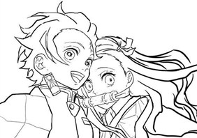 Flower Hashira With Boy Friend Coloring Page