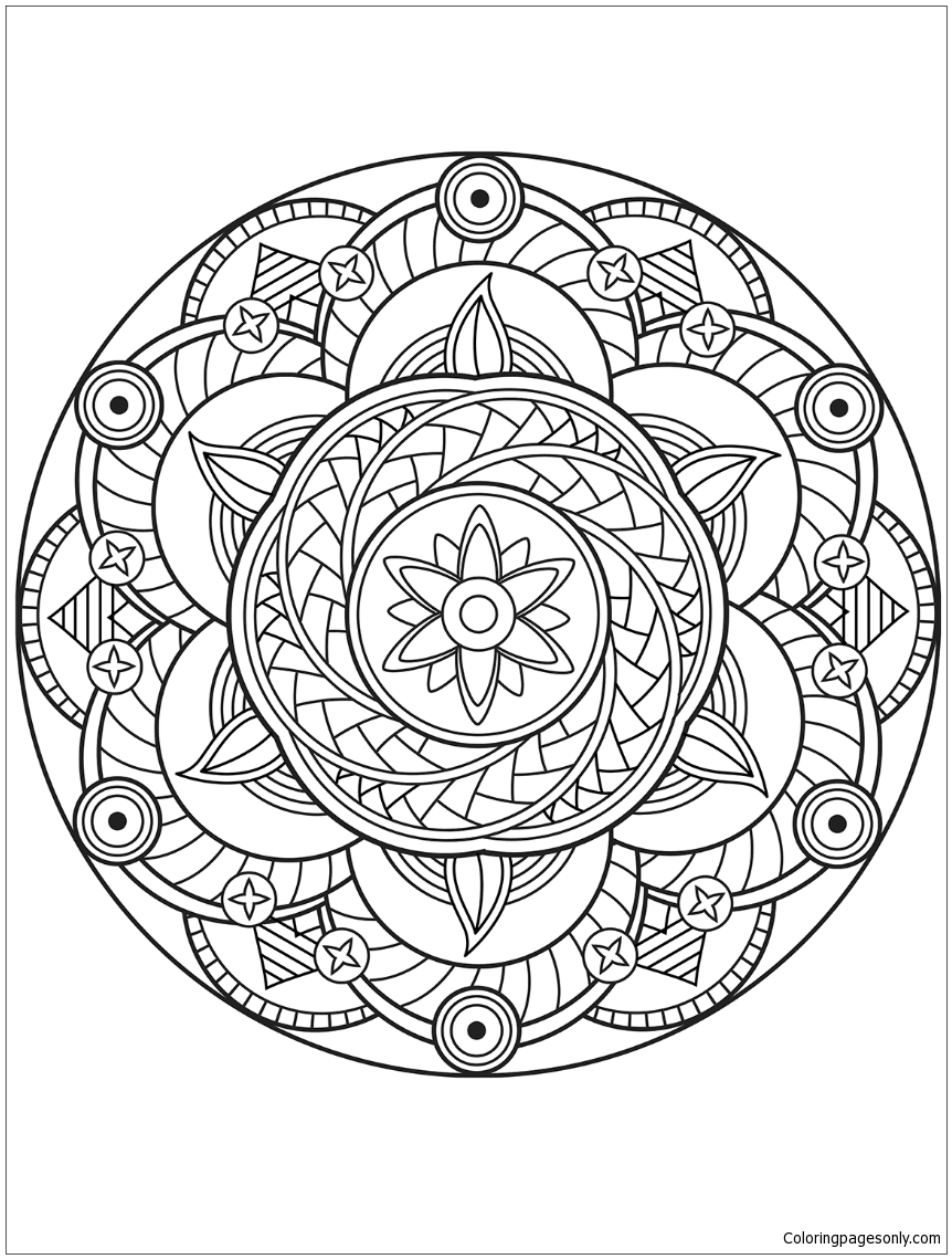 Flower Mandala 2 Coloring Page