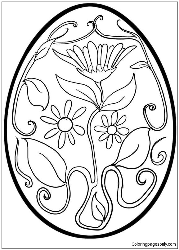 Flower Pattern Easter Egg Coloring Page