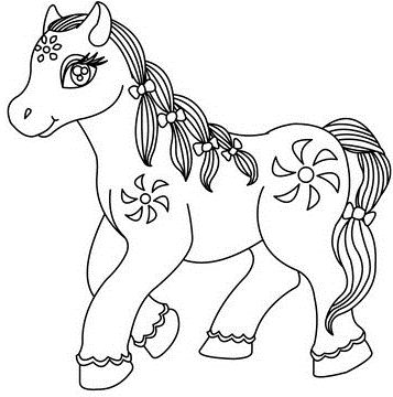 Flower Pony Coloring Page