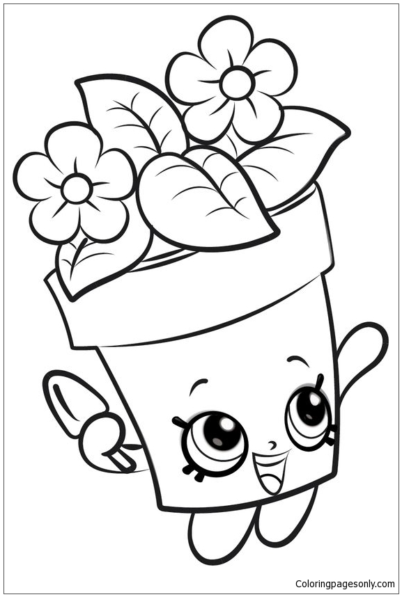 Flower Pot Shopkins Coloring Page