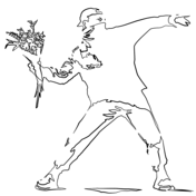 Flower Thrower by Banksy Coloring Page
