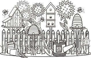 Flower Garden Care Coloring Page