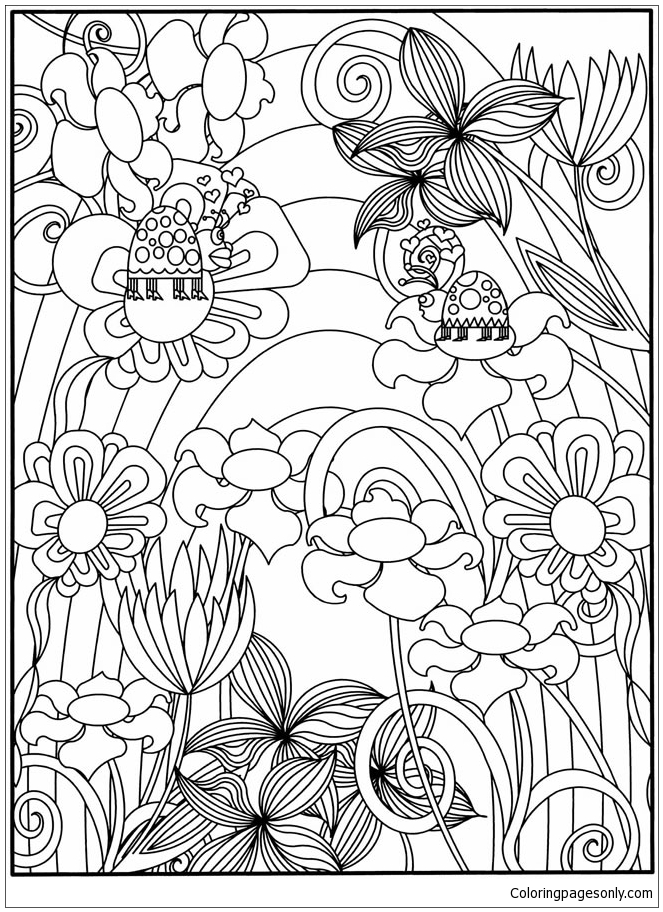 Flowers Garden 3 Coloring Page