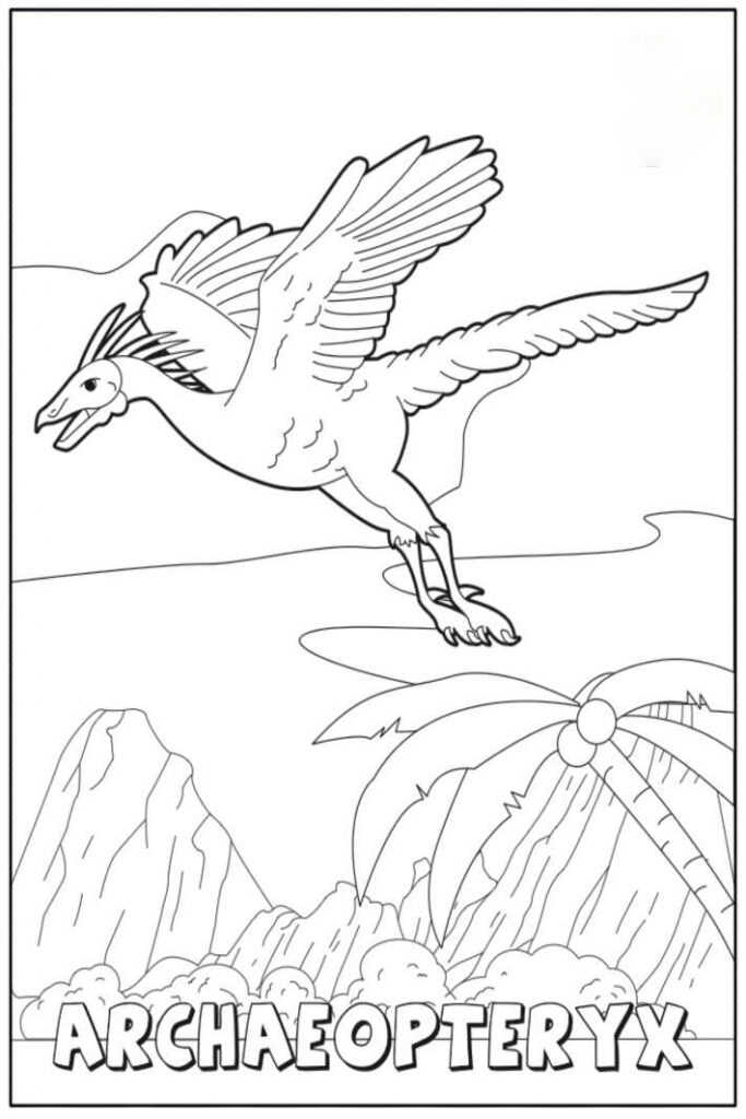Flying Archaeopteryx Dinosaur Coloring Page