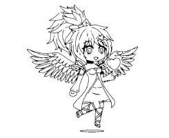 Flying Bad Girl with gold heart Coloring Page