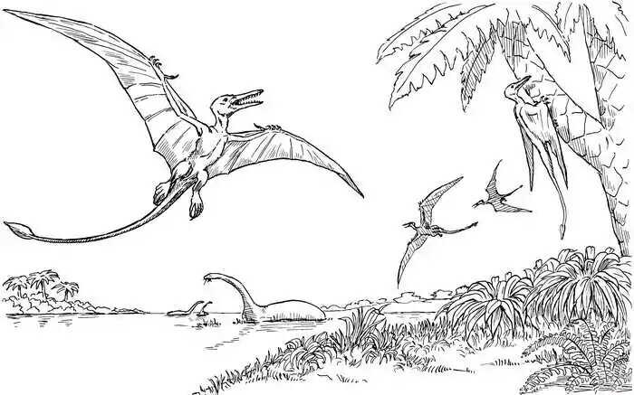 Flying Dinosaurs find food Coloring Page