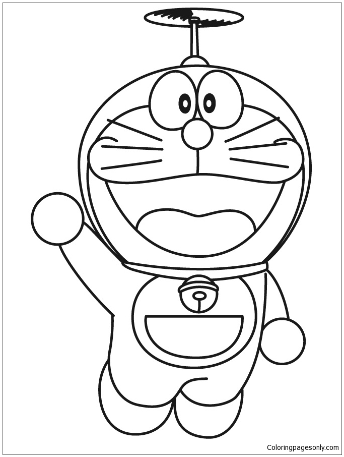 Flying Doraemon Coloring Page