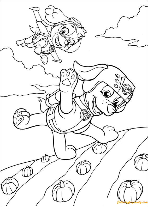 Flying Pups Coloring Page
