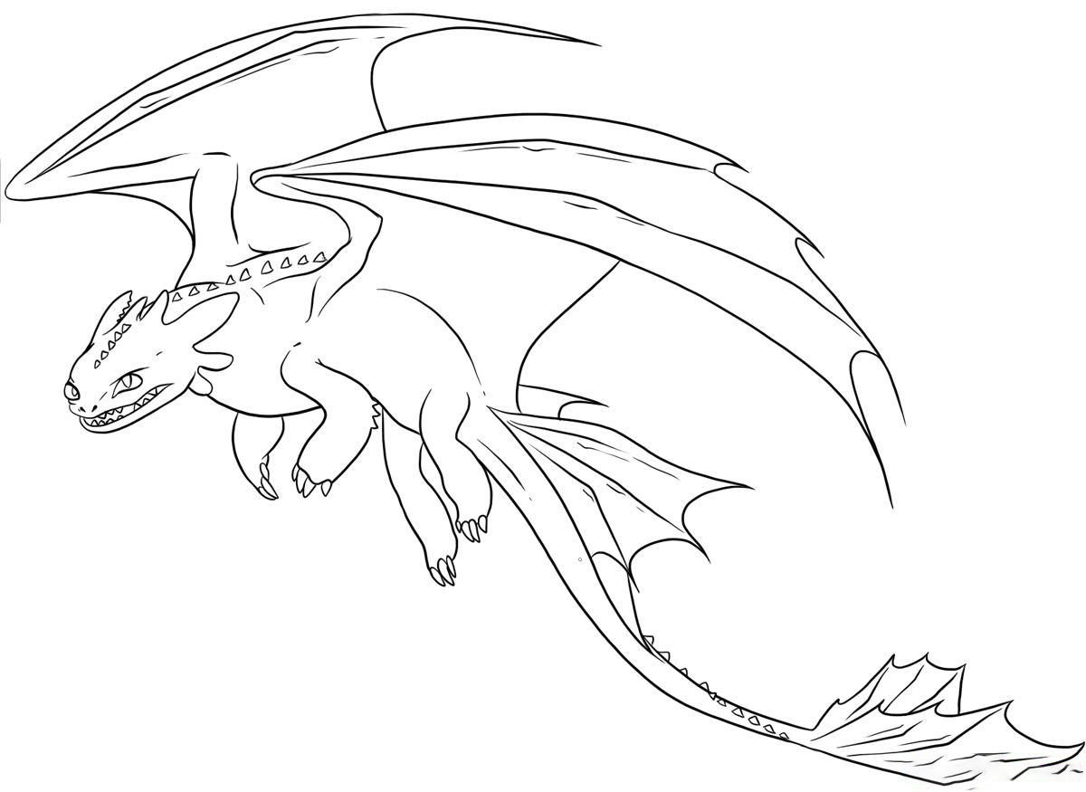 Flying Toothless Coloring Page