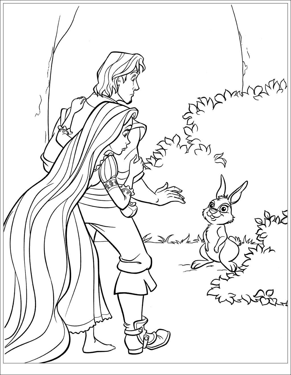 Flynn and rabbit Coloring Page