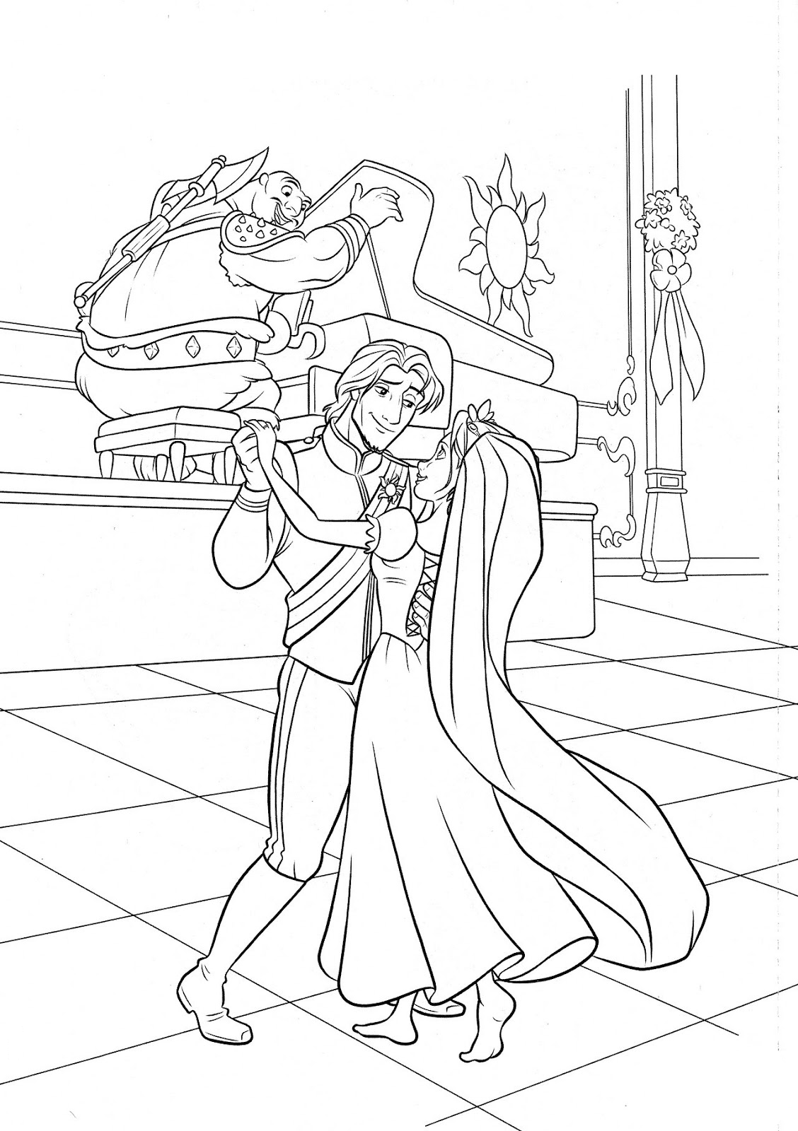 Flynn and Rapunzel are dancing Coloring Page