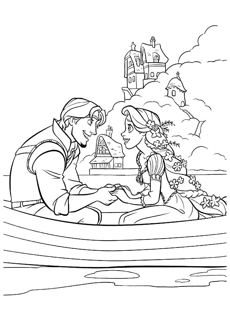 Flynn and Rapunzel are on the boat Coloring Page