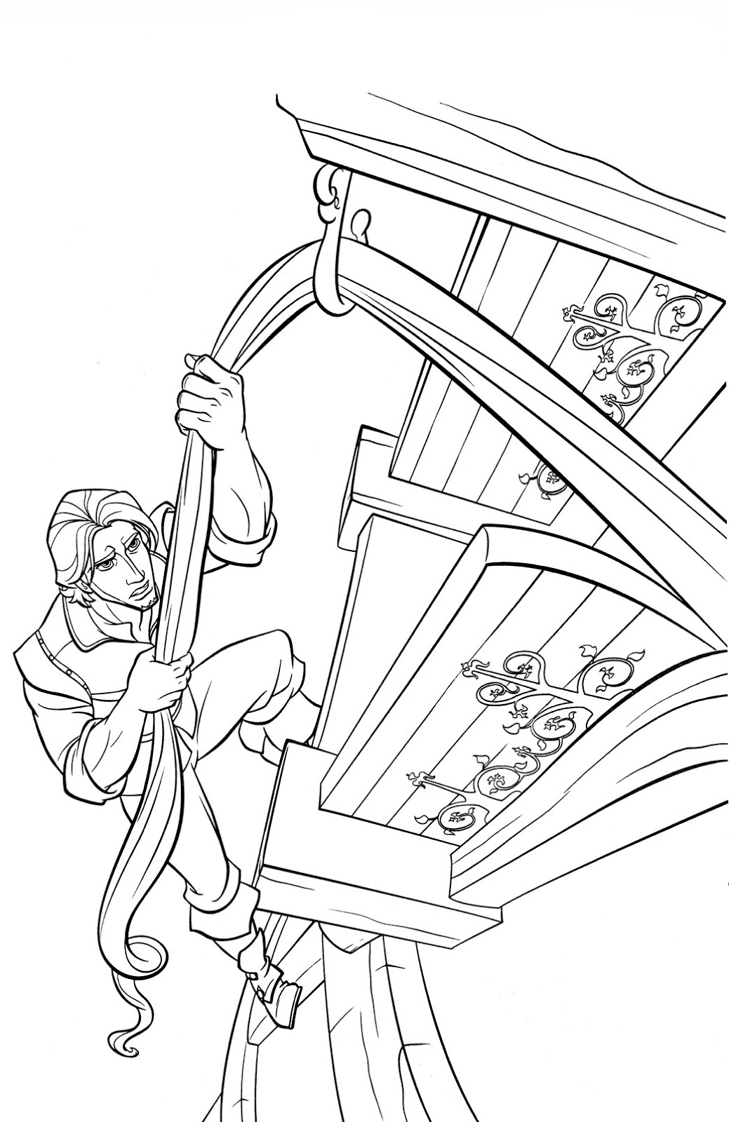 Flynn climbs the tower Coloring Page