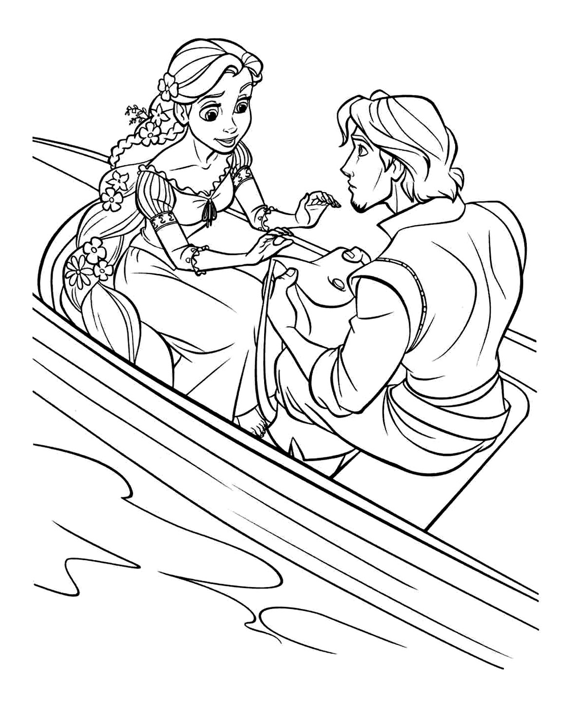 Flynn gives his bag to Rapunzel Coloring Page