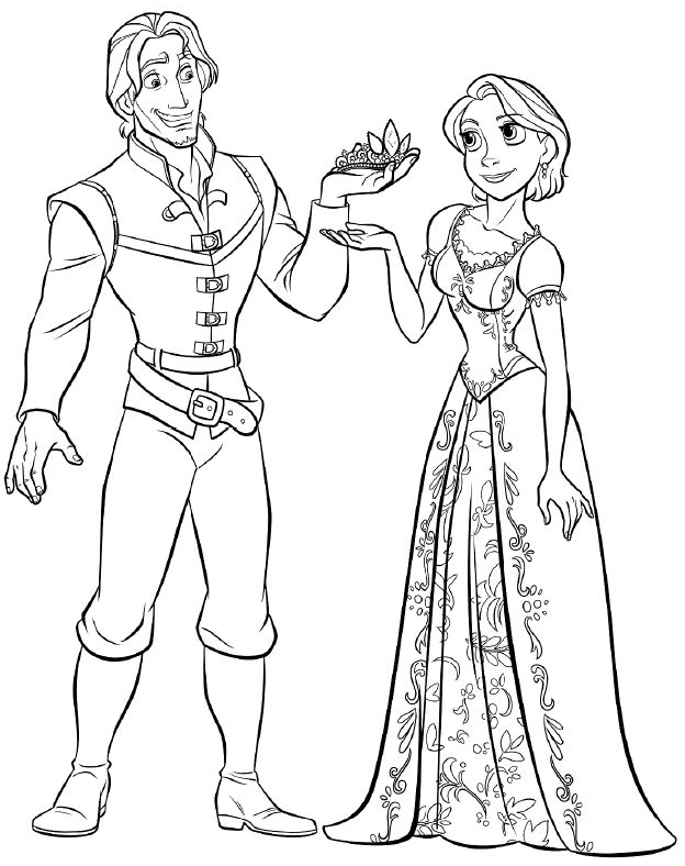 Flynn gives Rapunzel a crown Coloring Page