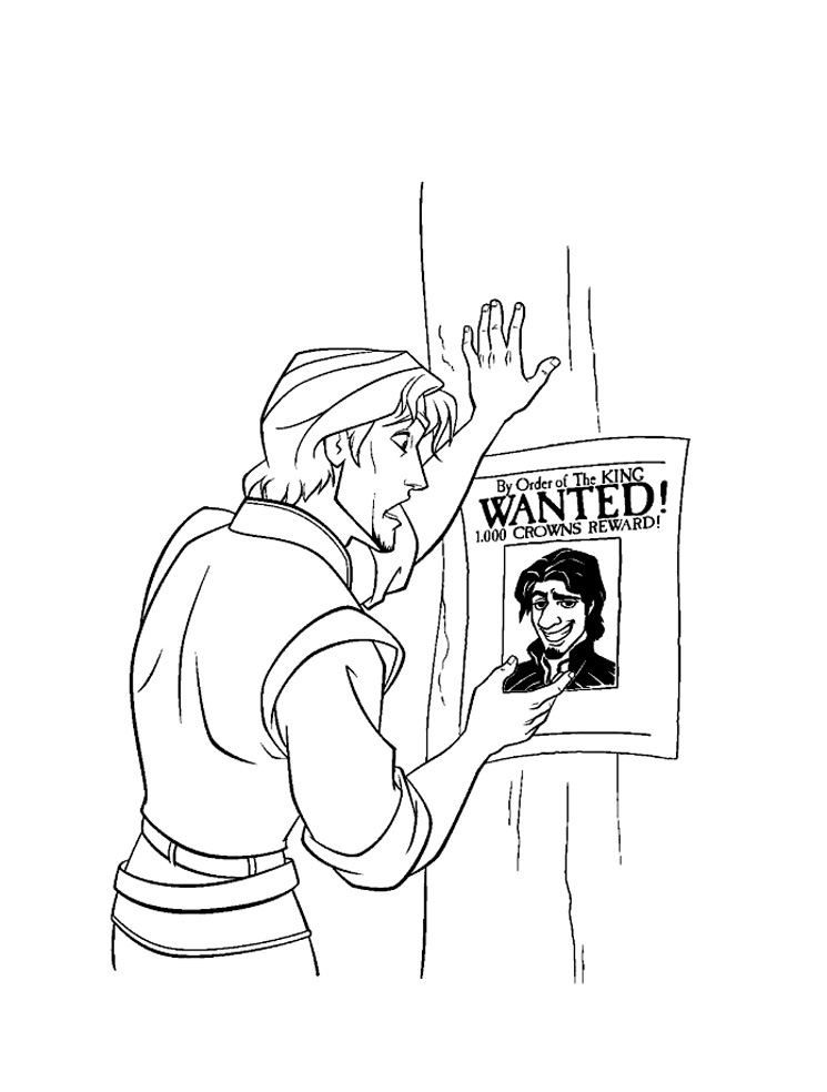 Flynn rider is wanted Coloring Page