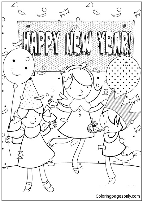 For Kids New Year Eventa2f3 Coloring Page