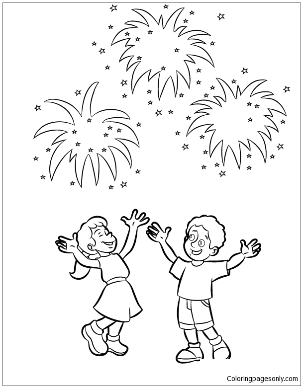 For Kids New Year Fireworks Coloring Page