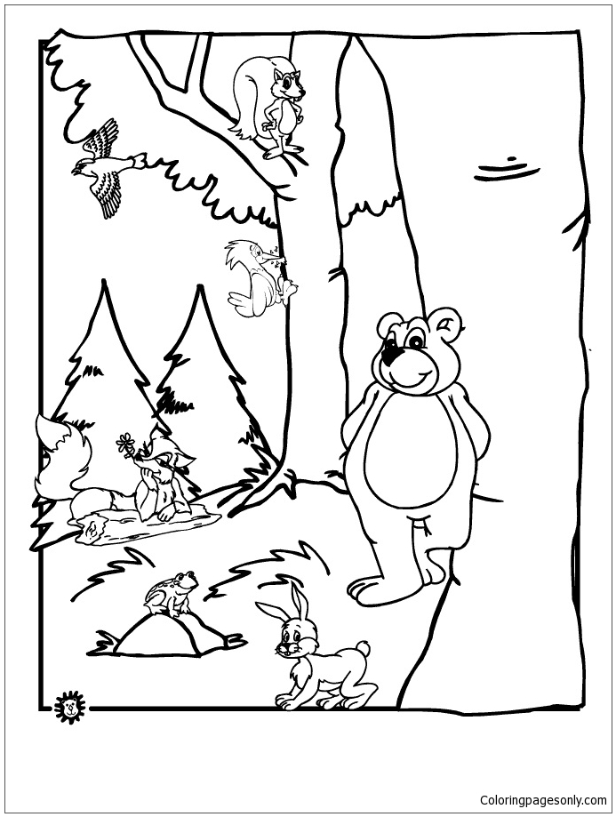 Forest Animals 3 Coloring Page