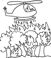 Forest Fire Coloring Page