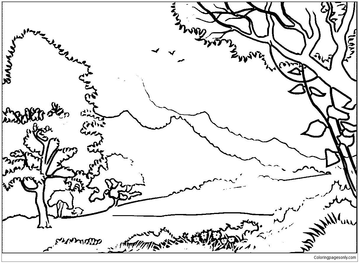 forest landscape coloring page free coloring pages online. Black Bedroom Furniture Sets. Home Design Ideas