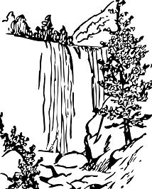 Forest With Waterfalls Coloring Page
