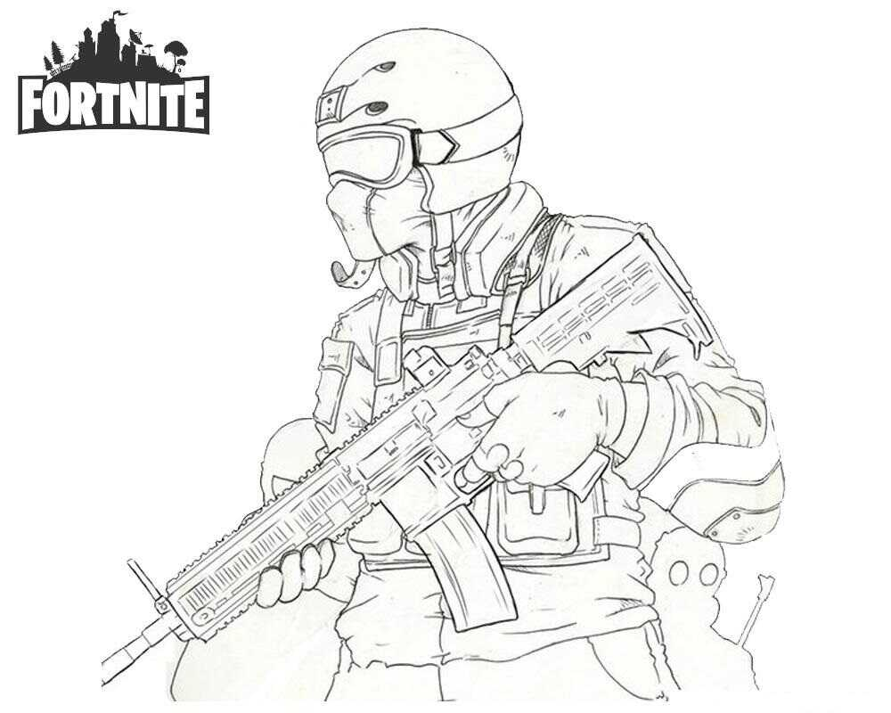Fortnite Instinct holds Rifle Guns Coloring Page