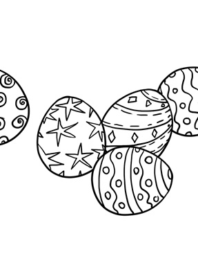 Four Basic Easter Eggs Coloring Page