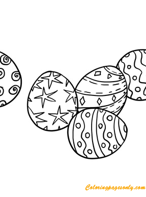 Four Basic Easter Eggs Coloring Pages