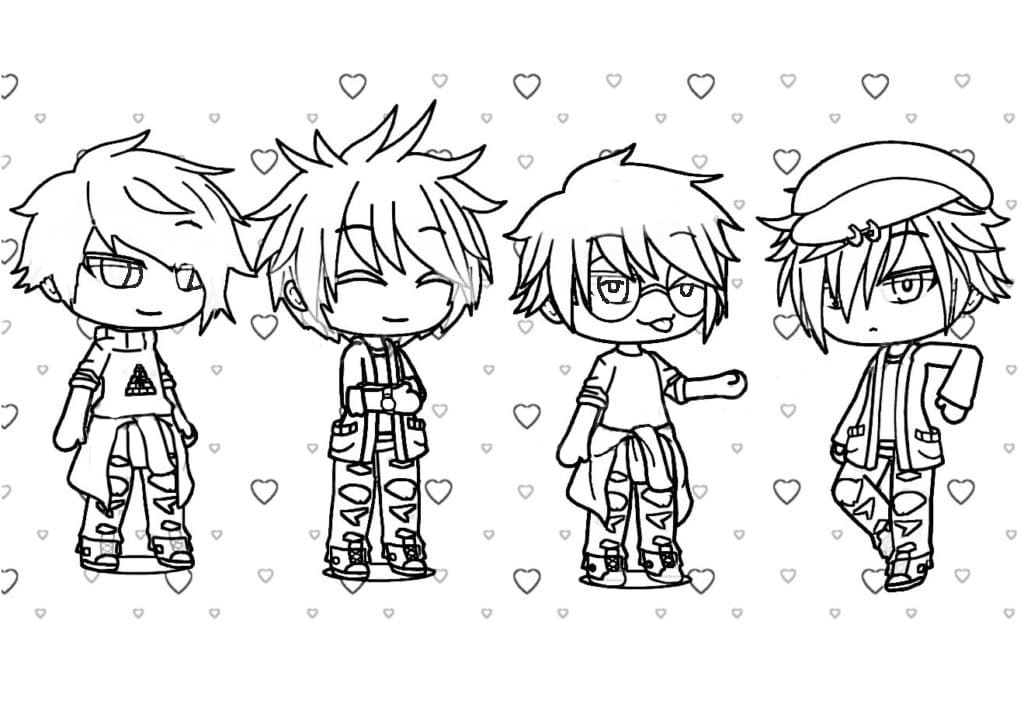 Four cool boys in Gacha Life Games Coloring Page