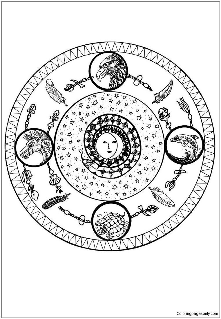 Four Elements Mandala Coloring Page