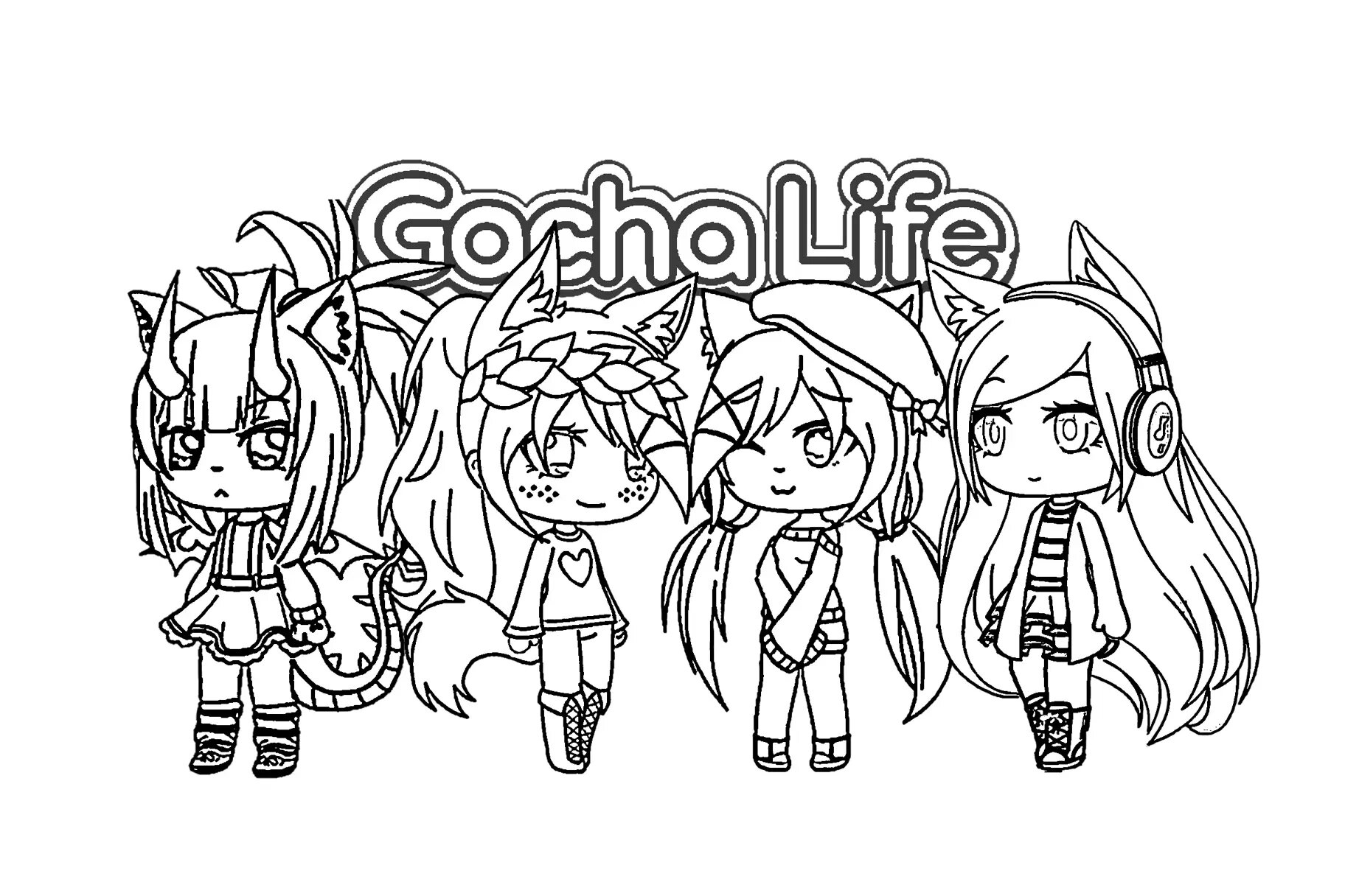 Four Girls in Gacha Life Coloring Page
