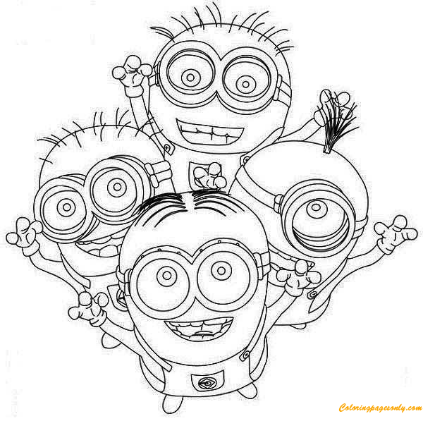 four happy minion coloring page
