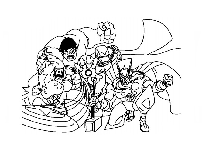 Team Members of Avengers Coloring