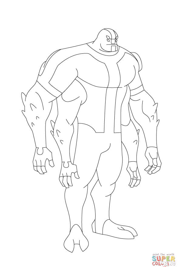 Ben 10 Four Arms Stands Tall And Proud From Ben 10 Coloring Page