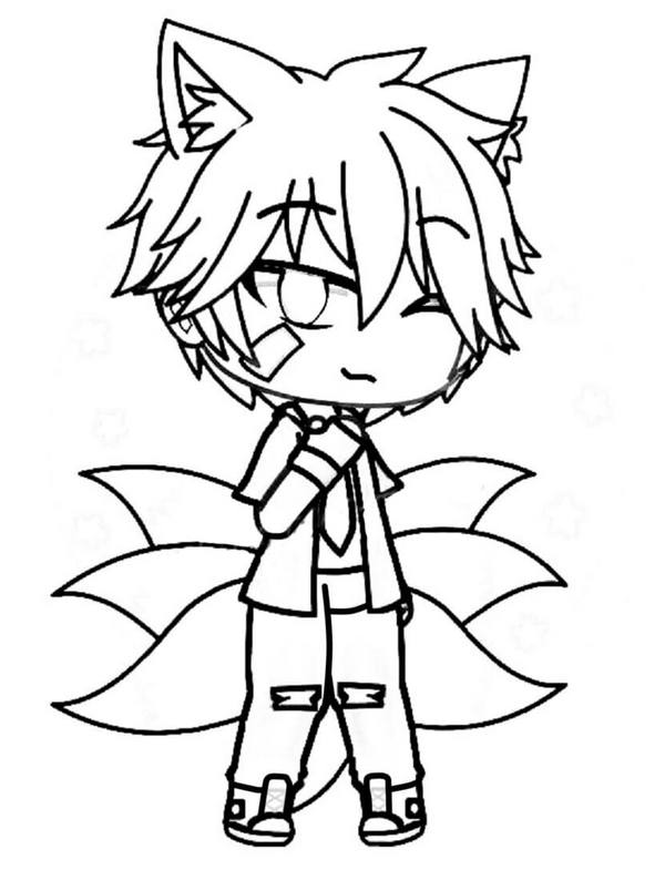 Fox boy with seven tails Coloring Page