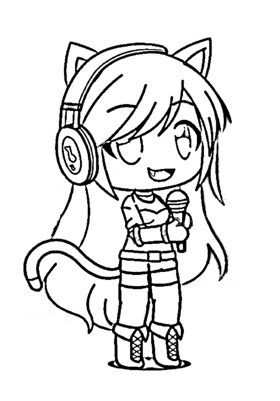Fox girl is singing Coloring Page